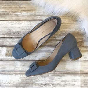 Zara Basic Blue Bow Suede Block Heels